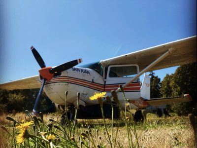 Photo of airplane in field at Point Roberts